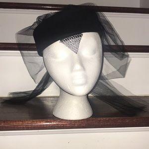 Vintage Adolfo Hat with Black Mesh Tulle 😘